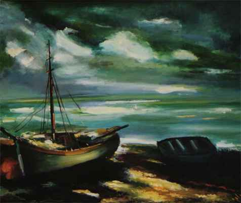 Vlaminck : Boats at Low Tide